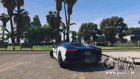 GTA 5 Lamborghini Aventador Police hinten links Seitenansicht