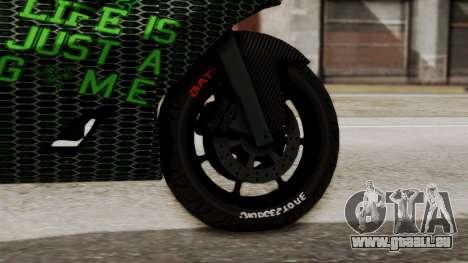 Bati Motorcycle Razer Gaming Edition pour GTA San Andreas sur la vue arrière gauche