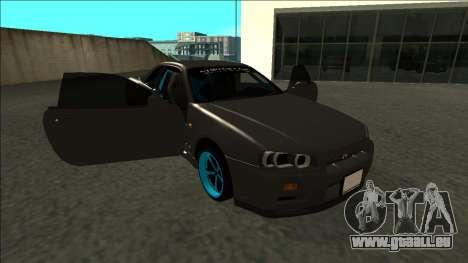 Nissan Skyline R34 Drift Monster Energy pour GTA San Andreas vue de côté