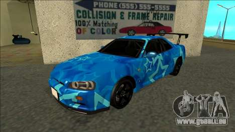 Nissan Skyline R34 Drift Blue Star pour GTA San Andreas