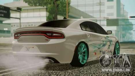 Dodge Charger RT 2015 Hatsune Miku pour GTA San Andreas laissé vue