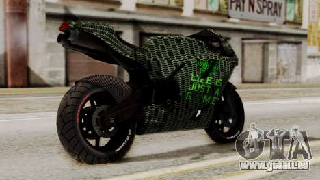 Bati Motorcycle Razer Gaming Edition pour GTA San Andreas laissé vue