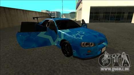 Nissan Skyline R34 Drift Blue Star pour GTA San Andreas vue de côté