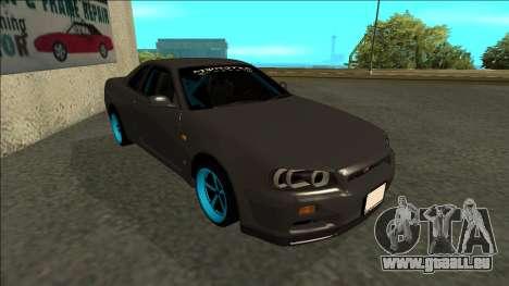 Nissan Skyline R34 Drift Monster Energy pour GTA San Andreas laissé vue