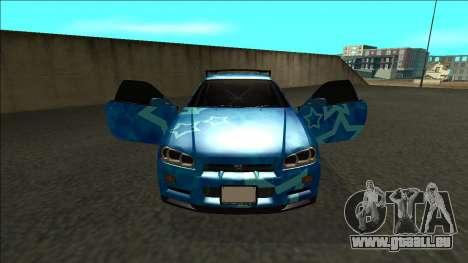 Nissan Skyline R34 Drift Blue Star pour GTA San Andreas vue intérieure