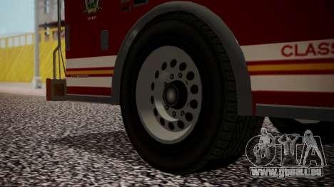GTA 5 MTL Firetruck pour GTA San Andreas sur la vue arrière gauche