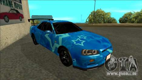Nissan Skyline R34 Drift Blue Star für GTA San Andreas linke Ansicht