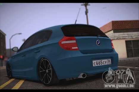 BMW 118i pour GTA San Andreas sur la vue arrière gauche
