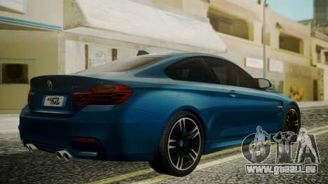 BMW M4 Coupe 2015 Brushed Aluminium für GTA San Andreas linke Ansicht