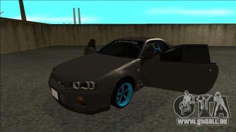 Nissan Skyline R34 Drift Monster Energy pour GTA San Andreas vue arrière