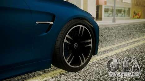 BMW M4 Coupe 2015 Brushed Aluminium pour GTA San Andreas sur la vue arrière gauche