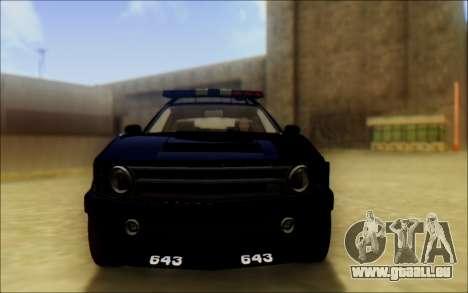 Schale Dominator Transformatoren Polizei Auto für GTA San Andreas Rückansicht