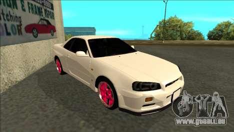 Nissan Skyline R34 Drift JDM pour GTA San Andreas laissé vue