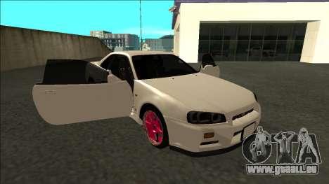 Nissan Skyline R34 Drift JDM pour GTA San Andreas vue de côté