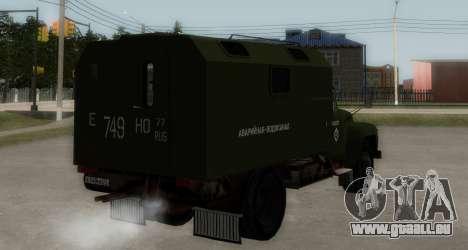 ZIL-130 Urgence à l'Eau pour GTA San Andreas sur la vue arrière gauche