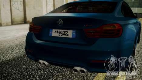 BMW M4 Coupe 2015 Brushed Aluminium pour GTA San Andreas vue arrière