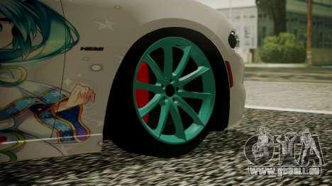 Dodge Charger RT 2015 Hatsune Miku für GTA San Andreas zurück linke Ansicht