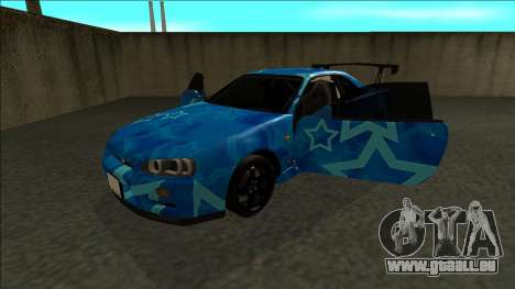 Nissan Skyline R34 Drift Blue Star pour GTA San Andreas vue arrière