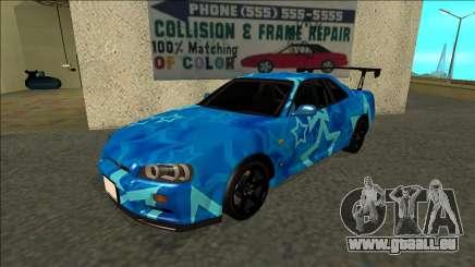 Nissan Skyline R34 Drift Blue Star für GTA San Andreas