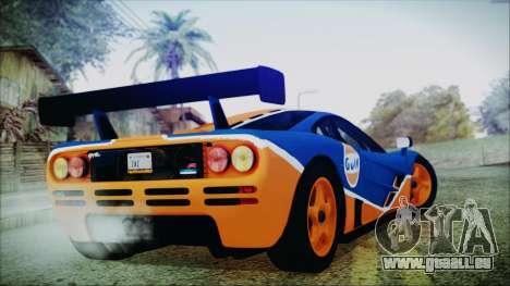 McLaren F1 GTR 1996 Gulf pour GTA San Andreas laissé vue
