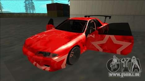 Nissan Skyline R32 Drift Red Star für GTA San Andreas Seitenansicht