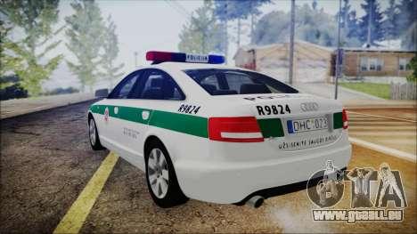 Audi A6 C6 Lithuanian Police für GTA San Andreas linke Ansicht