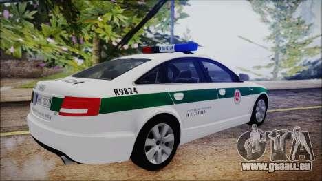 Audi A6 C6 Lithuanian Police für GTA San Andreas zurück linke Ansicht