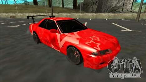 Nissan Skyline R32 Drift Red Star pour GTA San Andreas sur la vue arrière gauche