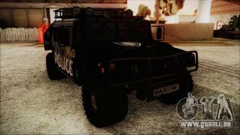 Hummer H1 Police für GTA San Andreas zurück linke Ansicht