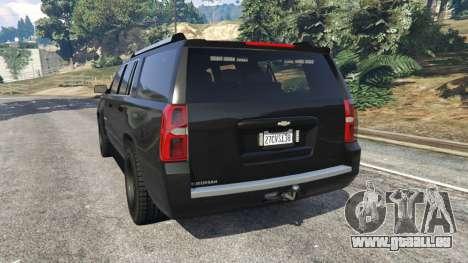 GTA 5 Chevrolet Suburban Police Unmarked 2015 arrière vue latérale gauche