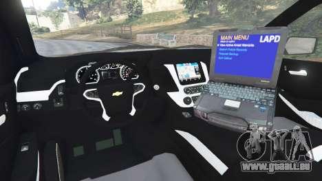 GTA 5 Chevrolet Suburban Police Unmarked 2015 arrière droit vue de côté