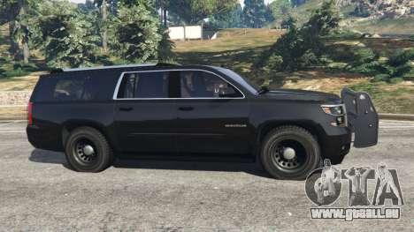GTA 5 Chevrolet Suburban Police Unmarked 2015 vue latérale gauche