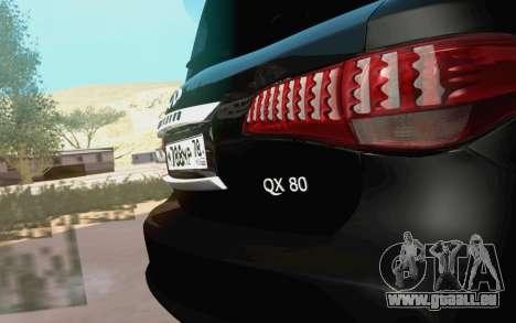 Infiniti QX80 pour GTA San Andreas vue de droite