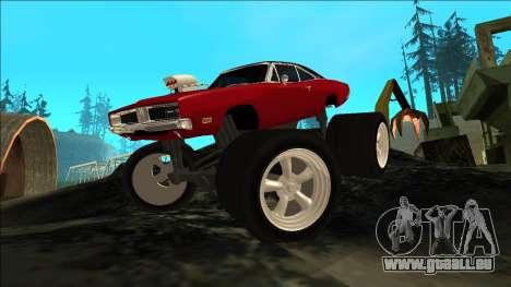 Dodge Charger 1969 Monster Edition pour GTA San Andreas vue arrière
