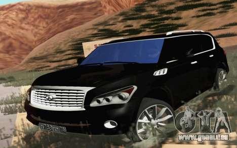 Infiniti QX80 pour GTA San Andreas sur la vue arrière gauche