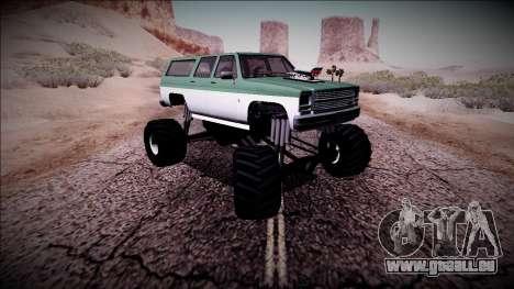 Rancher XL Monster Truck pour GTA San Andreas vue de dessus