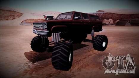 Rancher XL Monster Truck pour GTA San Andreas vue arrière