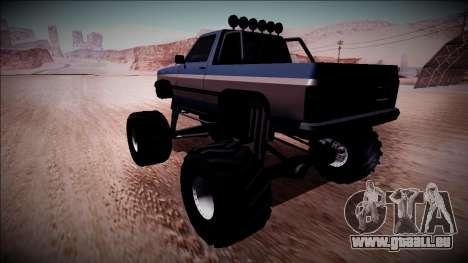 Rancher Monster Truck für GTA San Andreas zurück linke Ansicht