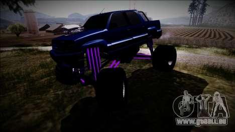 GTA 4 Cavalcade FXT Monster Truck pour GTA San Andreas vue intérieure
