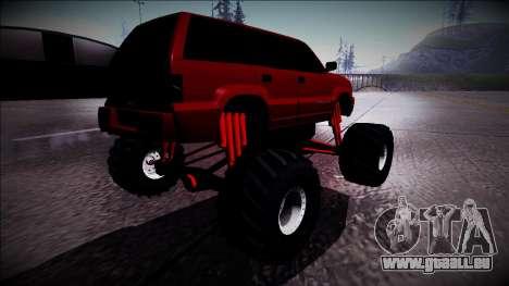 GTA 4 Cavalcade Monster Truck pour GTA San Andreas sur la vue arrière gauche