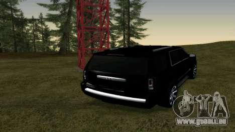 GMC Yukon 2015 pour GTA San Andreas sur la vue arrière gauche