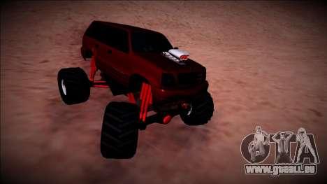 GTA 4 Cavalcade Monster Truck pour GTA San Andreas vue intérieure