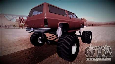 Rancher XL Monster Truck pour GTA San Andreas vue de droite