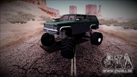 Rancher XL Monster Truck pour GTA San Andreas vue de côté
