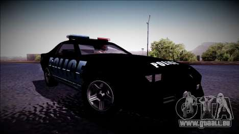 Chevrolet Camaro 1990 IROC-Z Police Interceptor für GTA San Andreas zurück linke Ansicht