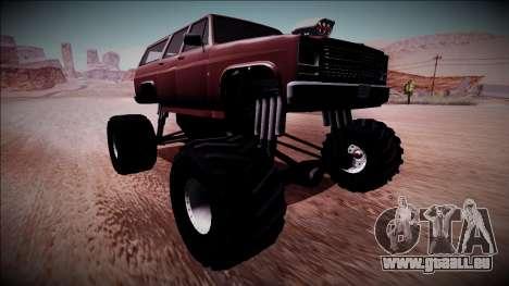 Rancher XL Monster Truck pour GTA San Andreas sur la vue arrière gauche