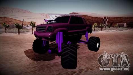 GTA 4 Cavalcade FXT Monster Truck pour GTA San Andreas sur la vue arrière gauche