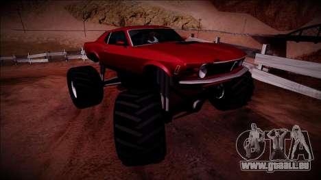 1970 Ford Mustang Boss Monster Truck für GTA San Andreas rechten Ansicht