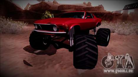 1970 Ford Mustang Boss Monster Truck für GTA San Andreas zurück linke Ansicht