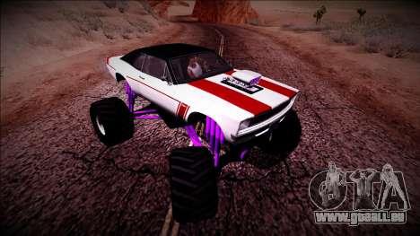 GTA 5 Declasse Tampa Monster Truck pour GTA San Andreas vue intérieure